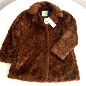 Zara Trafaluc Brown Faux Fur Coat NWT New